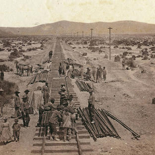 Transcontinental Railroad workers c.1865 Photo by Alfred A. Hart