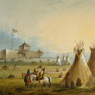 Fort Laramie Military Camp (Artist Alfred Jacob Miller)
