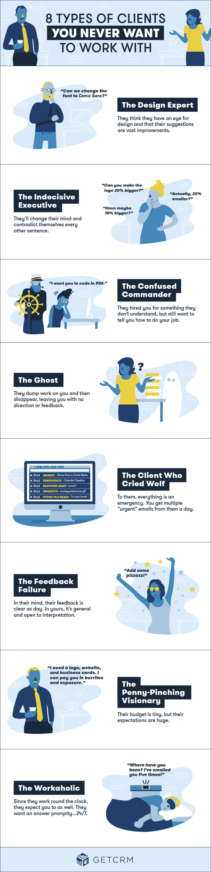 8 types of clients you never want to work with infographic