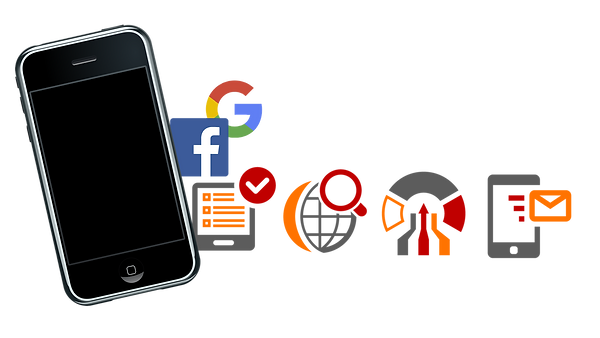collage of mobile phone with social media icons