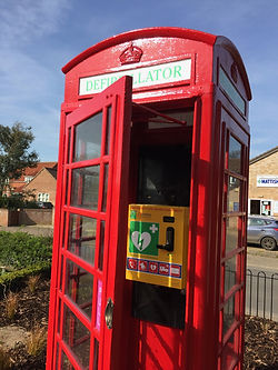 Mattishall's renovated red phone box with defibrillator