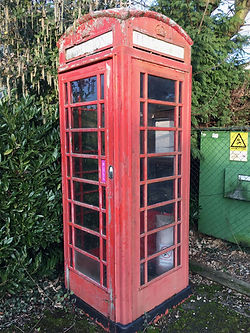 Mattishall's red phone box prior to renovation
