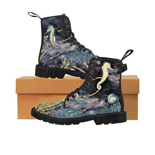 Midnight Sea- Women's Canvas Boots