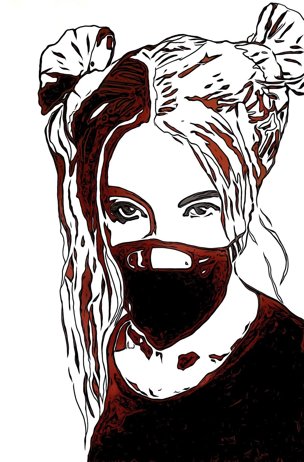 Masked no 6 isolation art. digital art
