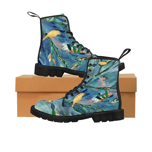 Blue Birds- Women's Canvas Boots