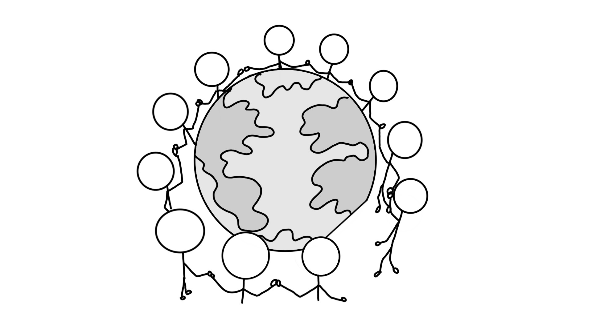 Hey Genius Custom Illustration. Stick figures encircle the world, holding hands.