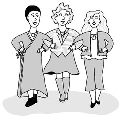 Illustration from the book Beautiful Badass. 3 women with linked arms in a grayscale hand drawn imag