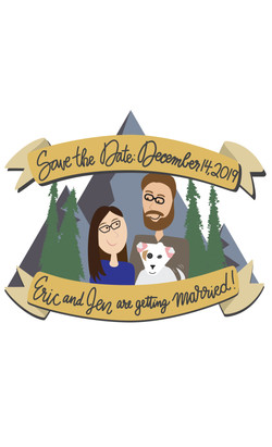 Save the date invitation for wedding. Cartoon of the couple and their dog in front of a mountain sce