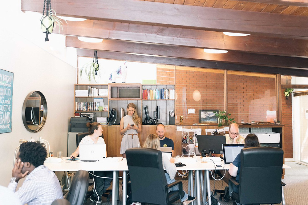 Some of the open desk space available at Cohere in Fort Collins, CO.