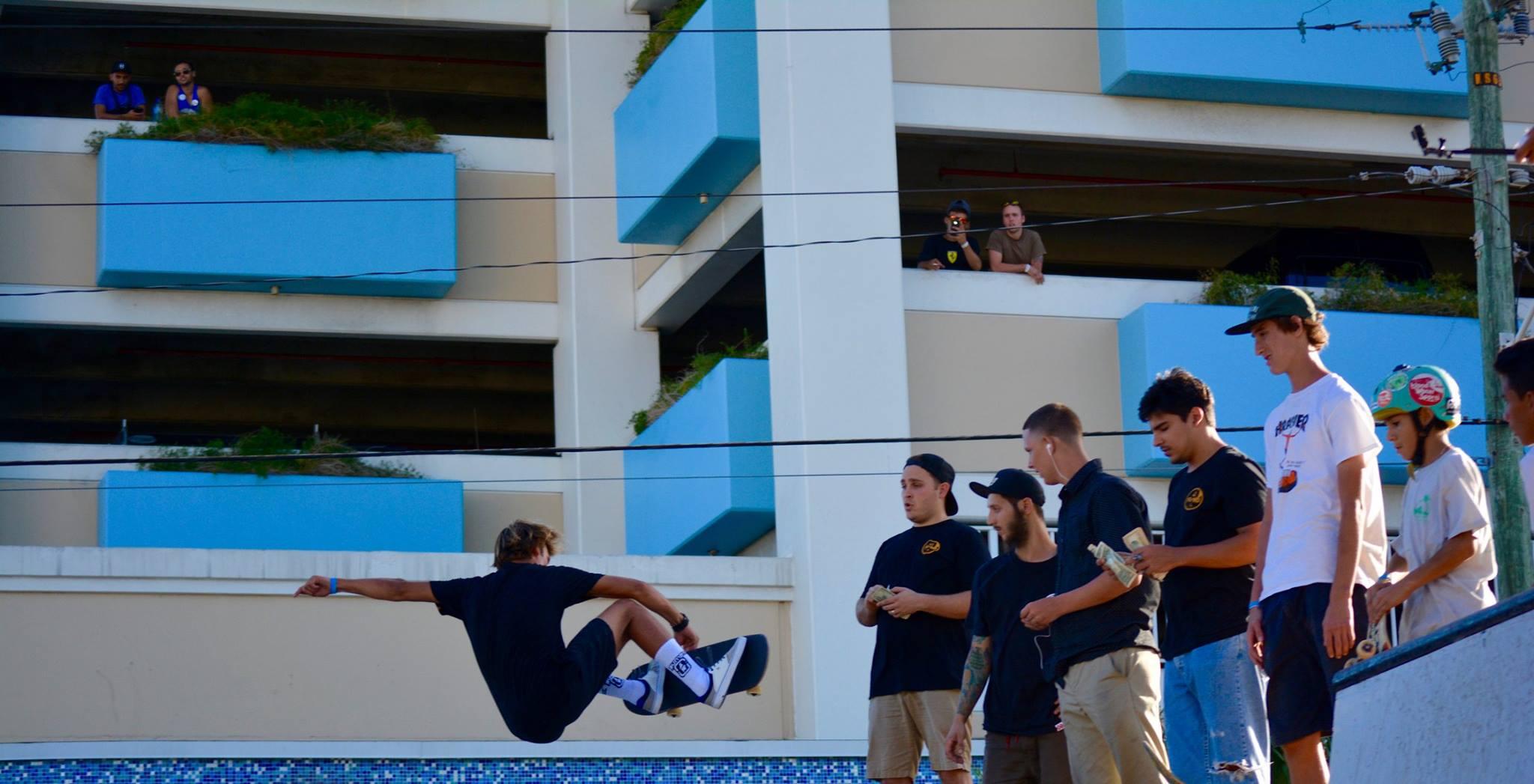 Skateboarding getting air