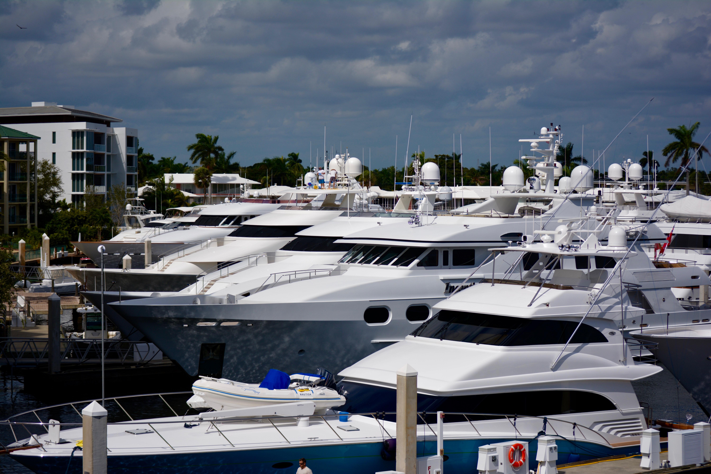 Bow of Mega Yachts at marina