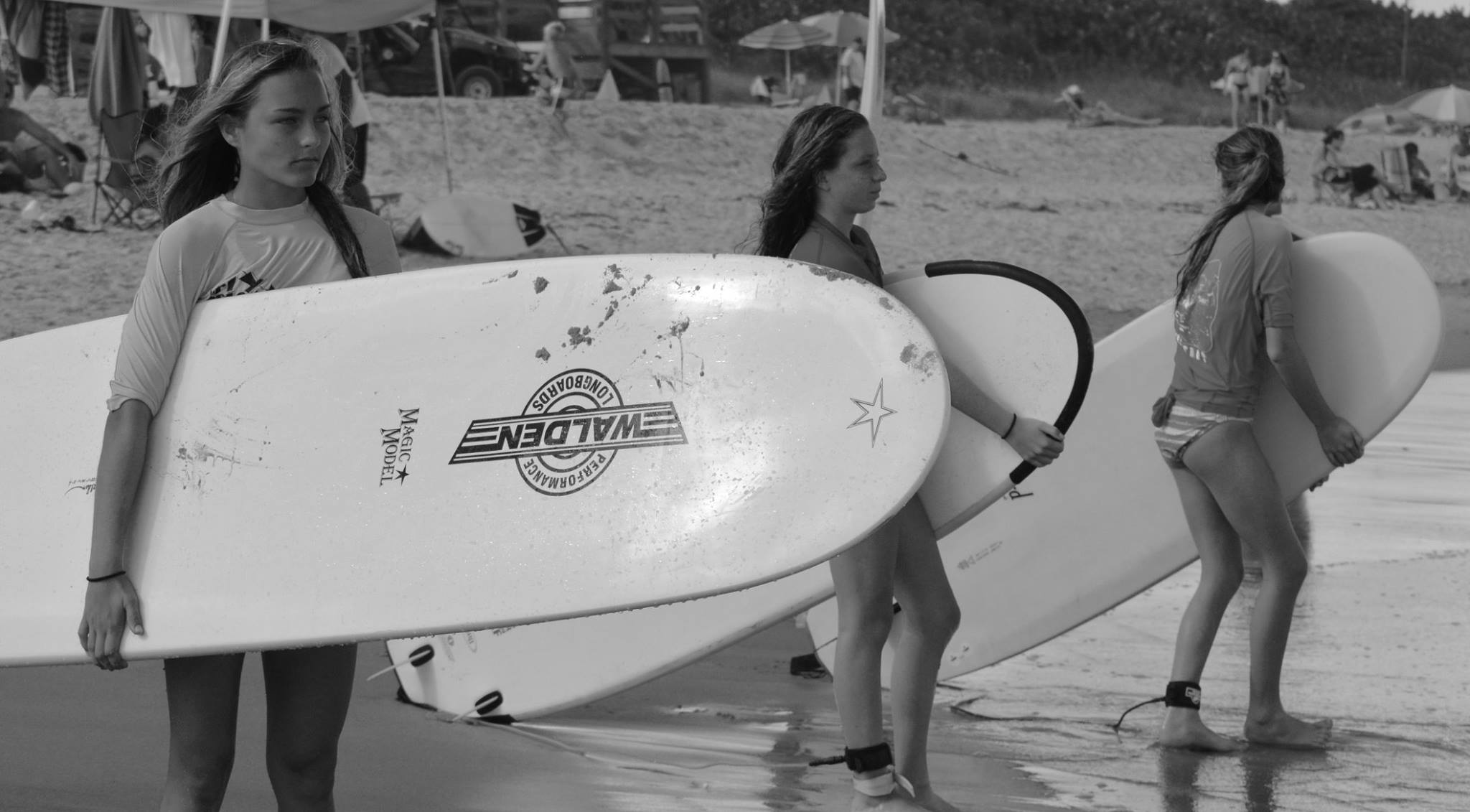 Girls checking out waves