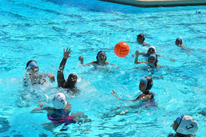 Please donate to Project 2020 water polo team. Mavericks volley ball during an exciting game.