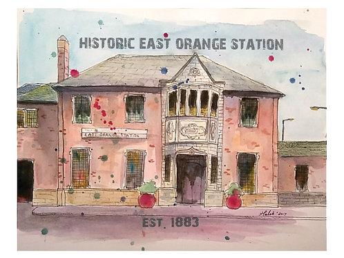 East Orange Station House Watercolor Print