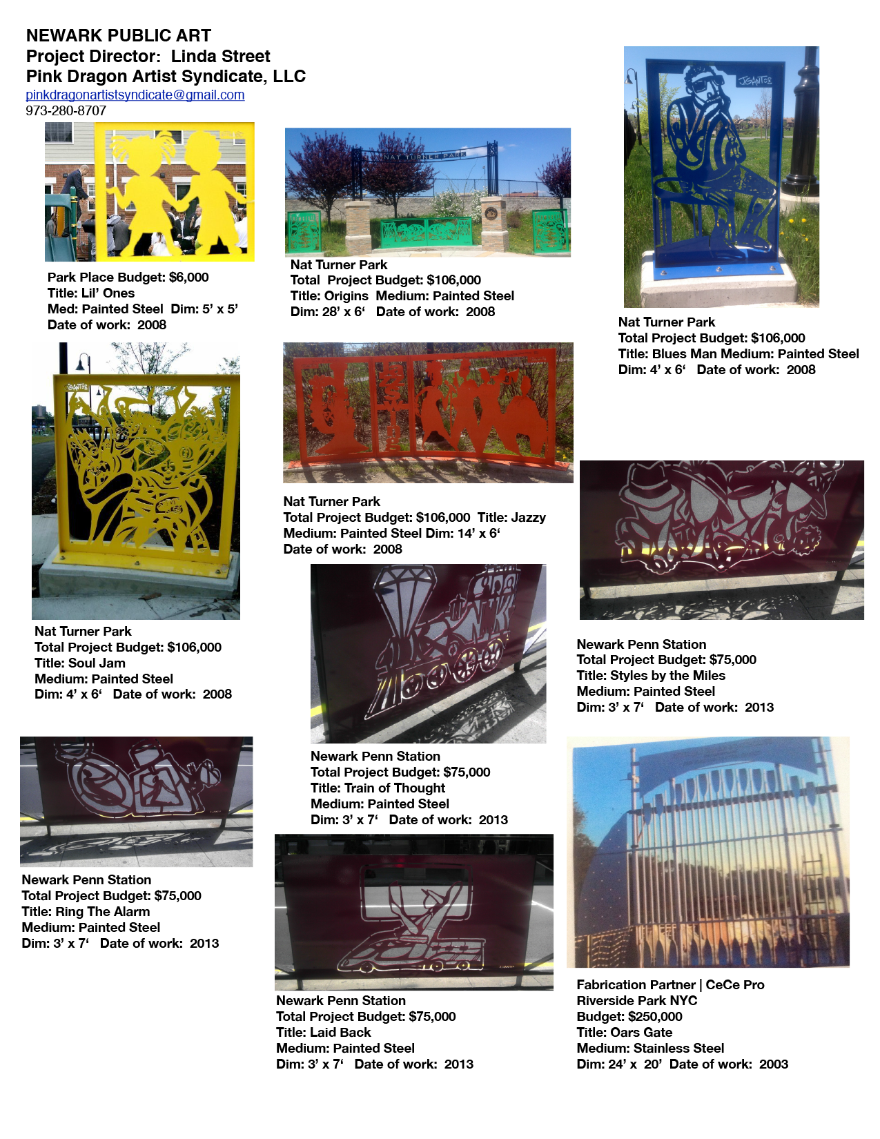 PDAS PUBLIC ART PROJECTS SHEET