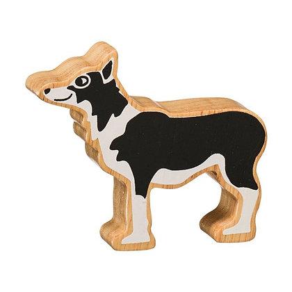 Lanka Kade Natural Wooden Black and White Dog NC116