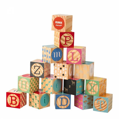 Janod Kubix Wooden Engraved Alphabet Blocks