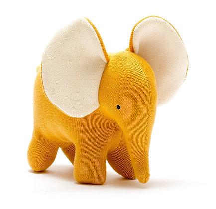 Best Years Organic Cotton Elephant Soft Toy - Mustard