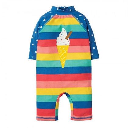 Frugi Little Sun Safe Suit Bright Rainbow Stripe