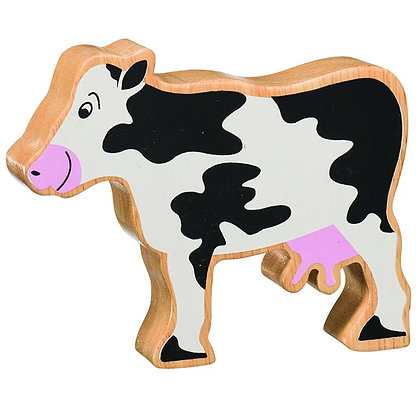 Lanka Kade Natural Wooden Black and White Cow NC103