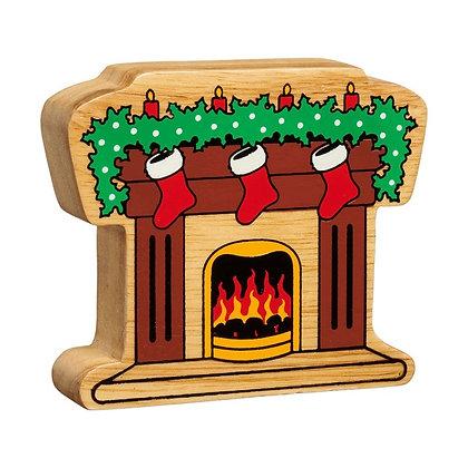 Lanka Kade Christmas Natural Wooden Fireplace NC841