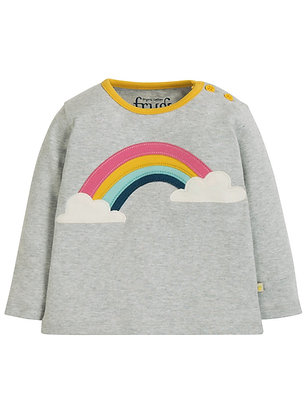 Frugi Grey Button Rainbow Applique Top