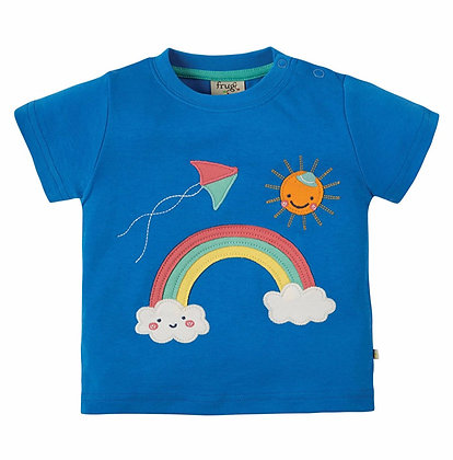 Frugi Little Creature Applique Top Sail Blue Rainbow
