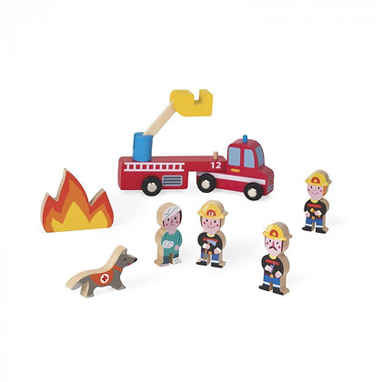 Janod Mini Story Wooden Toy Set - Firefighters