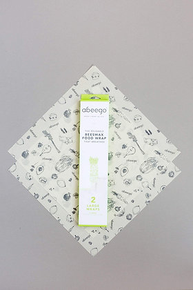 Abeego 2 Pack Large Beeswax Food Wraps