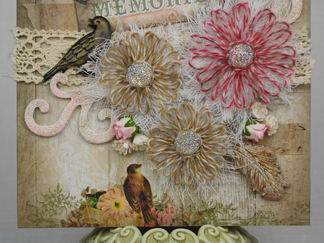 Lovely Memories Card with Girlie Grunge Twine Flowers