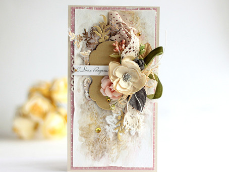 Girlie Grunge Card with Original Background by Elena Olinevich
