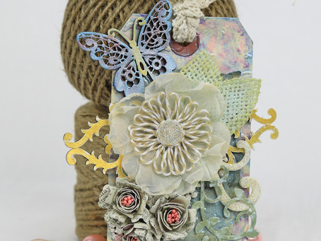 Hello Tag with Handcrafted Flowers by Tracey Sabella