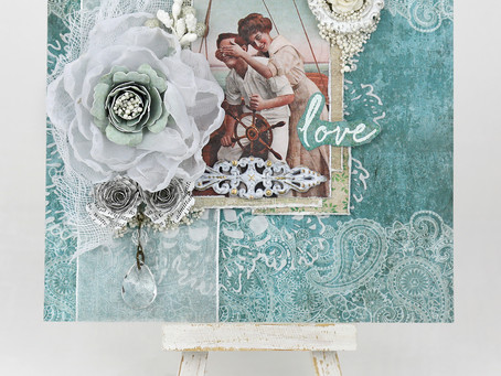 """""""Love"""" Anniversary Card Featuring Handcrafted Flowers by Tracey Sabella"""