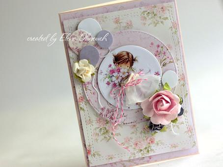 Sweet Girly Birthday Card by Elena Olinevich