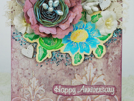 Girlie Grunge Card with Flowers Two Ways