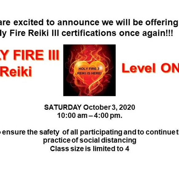 Holy Fire Reiki III Level One Certification