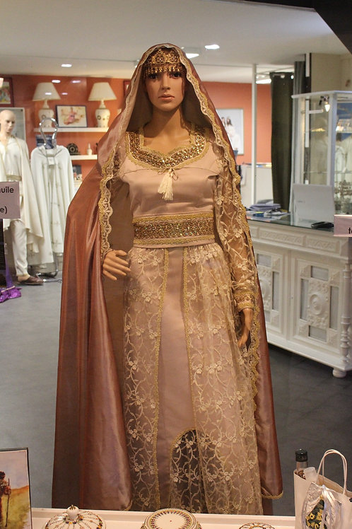 "Robe de mariée Amazigh ""Beige"" galon doré"