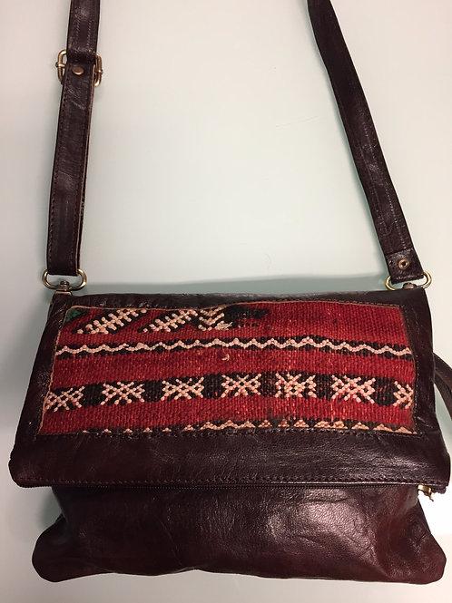Petit sac berbère marocain cuir/motif tapis (Ref P14B)