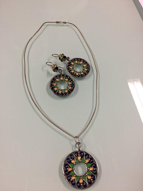 Parure kabyle boucles d'oreille | collier pendentif (ref PAR105)