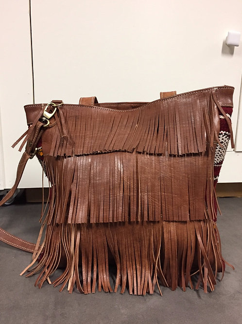 Grand sac marocain berbère (cuir clair) Ref L65B