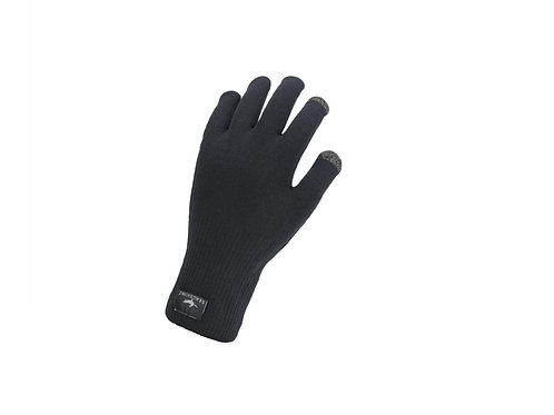 SEALSKINZ BLACK WATERPROOF ALL WEATHER ULTRA GRIP KNITTED GLOVES