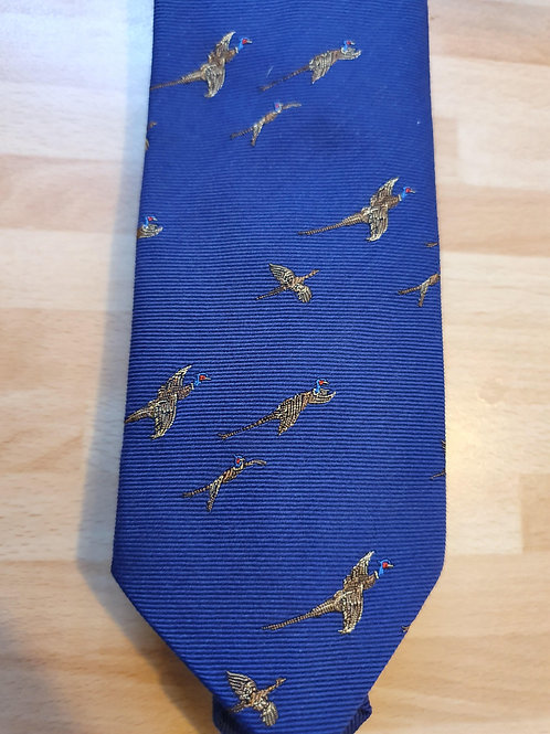 FORT AND STONE PHEASANT IN FLIGHT ON PURPLE TIE