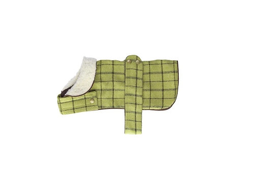 HOUSE OF PAWS X-LARGE GREEN TWEED DOG COAT