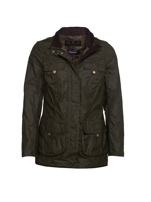 BARBOUR LADIES OLIVE DEFENCE WAXED JACKET