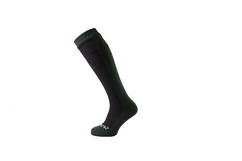 SEALSKINZ BLACK/GREEN WATERPROOF HIKING MID KNEE LENGTH SOCK