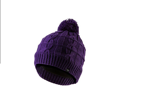 SEALSKINZ PURPLE WATERPROOF CABLE KNIT BEANIE HAT WITH BOBBLE
