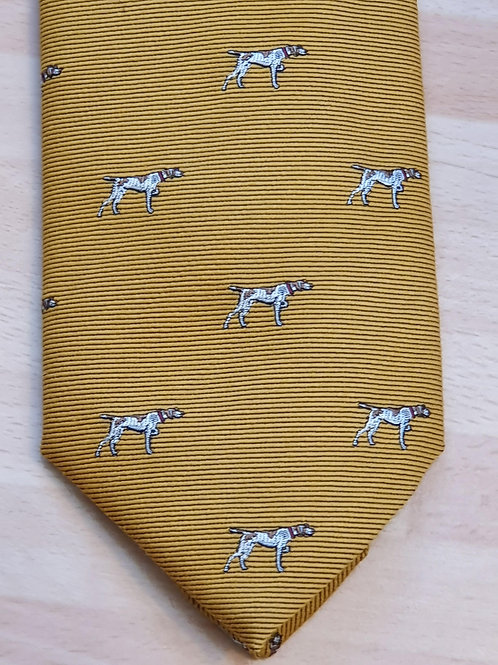 FORT AND STONE POINTER DOG ON MUSTARD TIE