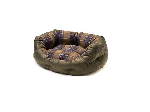 "BARBOUR OLIVE QUILTED 30"" DOG BED"
