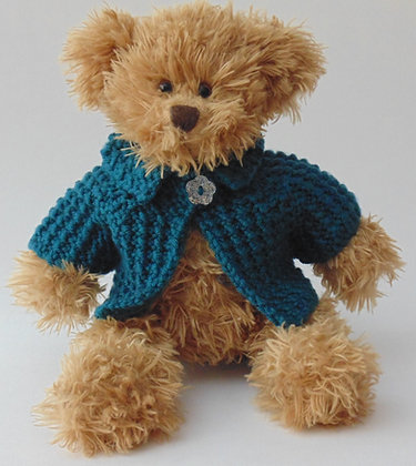 12 Inch Teddy Bear wearing Teal Aran Jacket