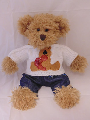 12 Inch Teddy holding Heart Jumper Only